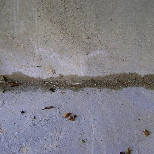 Damp to wall floor junctions of garage