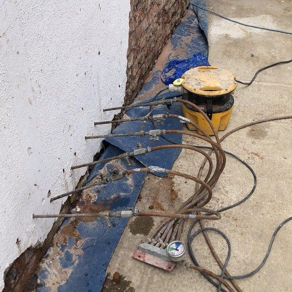 A chemical DPC  (Damp proof course) was injected externally