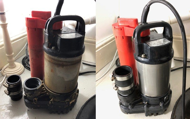AJ Waterproofing Services pump service before and after